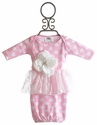 She Bloom Newborn Pink Polka Dot Lace Gown