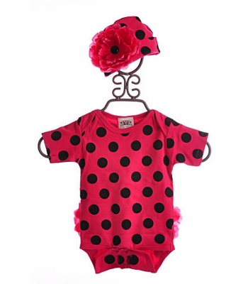 She Bloom Pink Girls Onesie Raspberry Dots