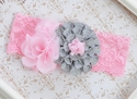 Silver Flower and Pink Chiffon Girls Headband
