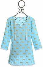 SnapperRock Girls Swim Caftan Gold Horses (Size 14)