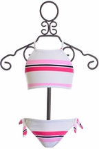 SnapperRock Halter Bikini for Girls with Stripes (4,6,8)