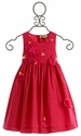 Sophie Catalou Fancy Girls Dress with Raspberry Red Flowers