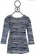 Splendid Striped Top for Girls in Navy Blue