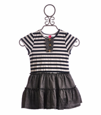 Stella Little Girls Summer Dress Zara in Navy White Stripes