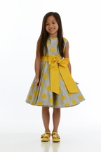 Susanne Lively Designs Polka Dot Dress Gray and Yellow