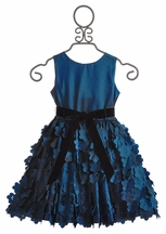 Susanne Lively Flutter Skirt Girls Dress in Slate Blue (Size 12 Mos)
