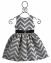 Susanne Lively Girls Chevron Striped Dress in Silver