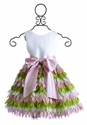 Susanne Lively Girls Fancy Dress Pink and Green Petals