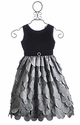 Susanne Lively Girls Holiday Dress Black Velvet with Petals
