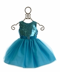 Susanne Lively Girls Special Ocassion Dress in Blue Sequins