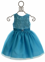 Susanne Lively Girls Special Occasion Dress in Blue Sequins