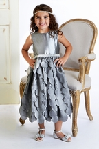 Susanne Lively Little Girls Silver Dress Flutter Skirt (Size 12Mos)