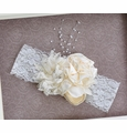 Sweet Ivory Lace and Flowers Handmade Headband