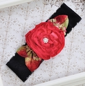 Sweet Lily Anne's Lace Holiday Headband with Red Flower