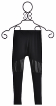 T2 Love Black Leggings for Girls with Leather Patch Knee (8 & 10)