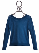 T2 Love Blue Long Sleeve Shirt with Overlap Back (Size 8)
