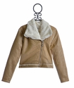 T2 Love Brown Jacket with Fur Lining for Girls