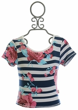 T2 Love Stripe Babydoll Tee with Flowers (8,10,12)