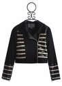 The Collection Tween Leather Moto Jacket Striped