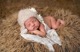The Daisy Baby Beige Crochet Hat with Lace Ties