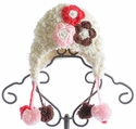 The Daisy Baby Coral Rose Cream Snowball Girls Hat