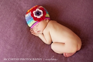 The Daisy Baby Rainbow Crochet Beanie for Girls (Size 2-8)