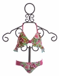 To The 9's Girls Halter Top Swimsuit Pink Polka Dot