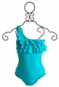 To The 9's Ruffled Tween Swimsuit in Turquoise (Size 12)
