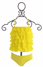 To The 9's Tankini for Girls in Polka Dot Ruffle Yellow (7 & 14)