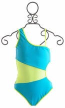To The 9's Turquoise Tween Asymmetrical Swimsuit (Size 7)