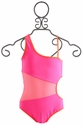 To The 9's Tween Neon Asymmetrical Swimsuit
