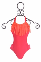To The 9's Tween One Piece Fringe Bathing Suit in Red (8,12,14)