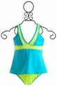 To The 9's Tween Sporty Tankini in Turquoise and Yellow