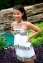 To The 9's Tween White Sequin Ruffle Dress
