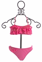 To The Nine's Bandeau Bikini for Girls in Pink (7,12,14)