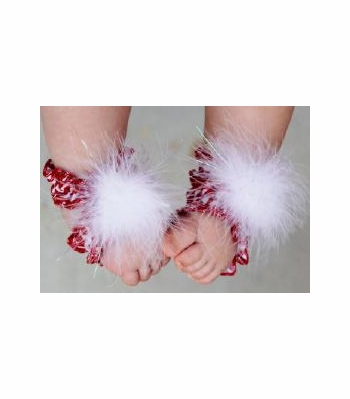 Toe Bloom Red and White Baby Foot Wraps