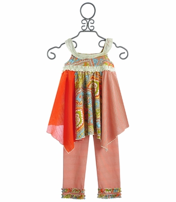 Tralala Vintage Boho Girls Handkerchief Dress with Leggings