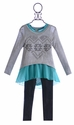Tru Luv Back to School Sweater and Legging Set Turquoise Love