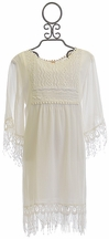 Tru Luv Bell Sleeve Dress in Ivory with Fringe (7,8,14)