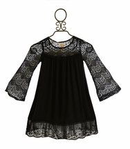 Tru Luv Black Lace Baby Doll Dress for Tweens
