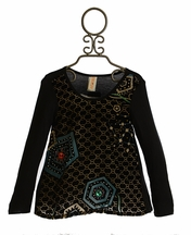 Tru Luv Black Velvet Geo Tunic for Girls (7,8,10,12)