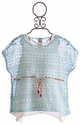 Tru Luv Blue Tween Crochet Top