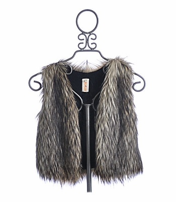 Tru Luv Brown Faux Fur Tween Vest