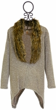 Tru Luv Cardigan for Tweens with Fur Collar (7,8,10,12)