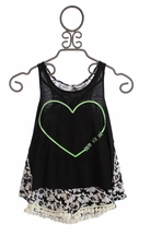 Tru Luv Designer High Low Tank with Shorts Sunflowers (Size14)