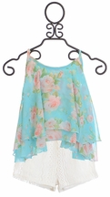 Tru Luv Floral Cami with Lace Shorts for Tweens (Size 10)