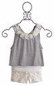 Tru Luv Girls Shorts with Top in Ivory and Gray