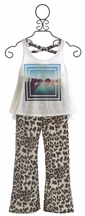 Tru Luv Girls Tank with Pants in Leopard Print (Size 12)