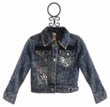 Tru Luv Jeweled Girls Faded Denim Jacket