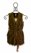 Tru Luv Long Faux Fur Vest with Belt